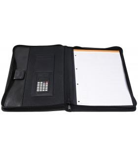 Mapa conferinta, cu calculator si bloc notes, neagra, EXACOMPTA