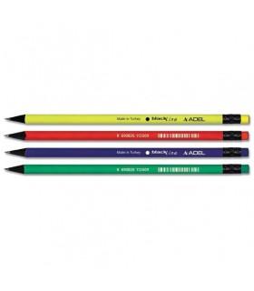 Creion grafit HB cu guma lemn negru ADEL