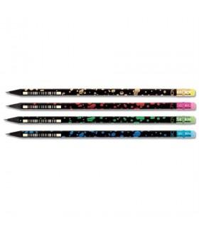 Creion grafit HB cu guma lemn negru Party ADEL