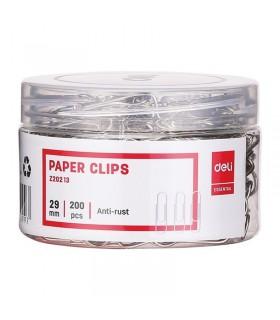 Agrafe birou metalice, 29 mm, 200 buc/cutie plastic DELI