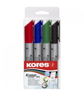 Marker flipchart 4/set 3 mm KORES