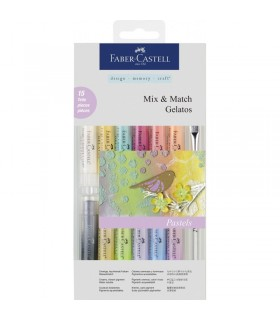 Set 12 pasteluri solubile Gelatos + 3 accesorii culori pastel FABER CASTELL