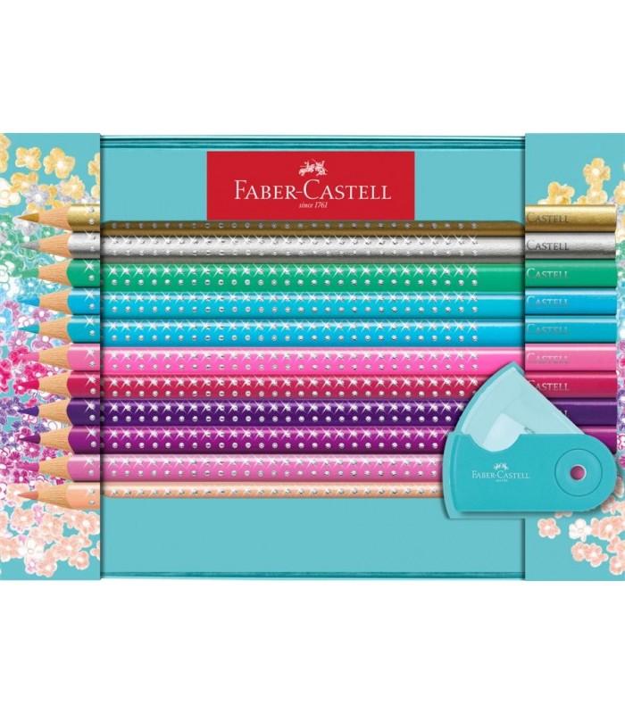 Creioane colorate 20 culori Sparkle si ascutitoare Sleeve FABER - CASTELL