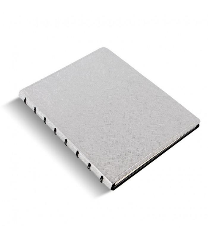 Caiet multifunctional Notebook Saffiano Metallic cu spirala si rezerve A5 Silver, FILOFAX