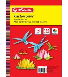 Carton color A4 200 g/mp 100 coli/top HERLITZ