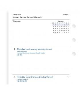 Rezerva hartie saptamanala 90 x 171 mm compatibila cu Agendele Organiser si cu Clipbook-urile, Personal FILOFAX