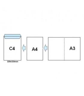 Plic C4 siliconic cu fereastra stanga, 100 g/mp, 229 x 324 mm, alb GPV