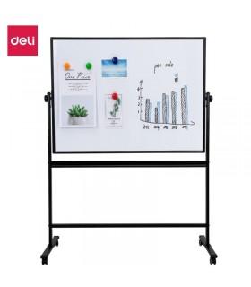 Tabla alba magnetica, cu doua fete, 90 x 120 cm, pe stand mobil, rama aluminiu, DELI