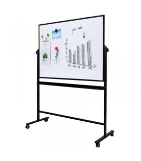 Tabla alba magnetica, cu doua fete, 90 x 150 cm, pe stand mobil, rama aluminiu, DELI