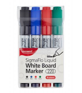 Marker whiteboard 4 culori/set SigmaFlo 220, varf 2 mm MONAMI