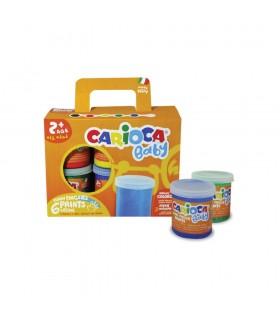 Tempera super lavabila pentru pictura cu mana, 6 culori, Finger Paint 2+ CARIOCA Baby
