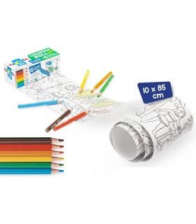Coloring roll mini 10 x 85 cm/rola hartie autoadeziva - white CARIOCA