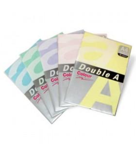 Hartie color pentru copiator A4, 80 g/mp, 100 coli/top, 5 culori pastel asortate DOUBLE A