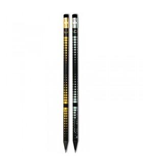 Creion grafit HB auriu & argintiu cu guma ADEL