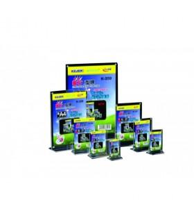 Display plastic cu magneti pentru pliante A7-portrait, forma T, transparent, KEJEA