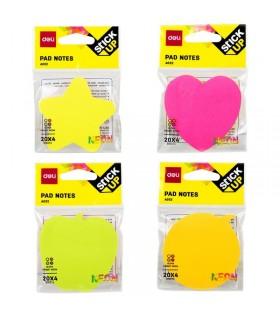 Notes adeziv 76 x 76 mm, 4 culori neon x 20 file, diverse forme, DELI