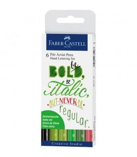 Marker verde Pitt Artist Pen Caligrafic set 6 bucati FABER - CASTELL