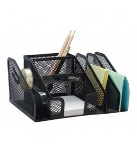 Organizer metalic de birou, 6 compartimente + suport banda adeziva, Mesh Q-CONNECT
