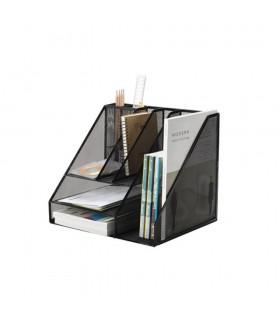 Organizer metalic de birou, tavite+suporti de reviste, 7 compartimente, Mesh Q-CONNECT