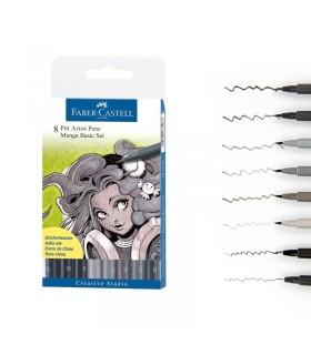 Marker 8 bucati Pitt Artist Pen Manga Basic FABER - CASTELL