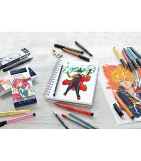 Marker 6 bucati Pitt Artist Pen Manga negru FABER-CASTELL