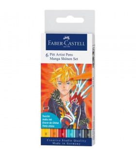 Marker 6 bucati Pitt Artist Pen Manga Shonen 2019 FABER-CASTELL