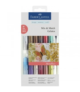 Set 12 pasteluri solubile Gelatos + 3 accesorii culori metalice FABER-CASTELL