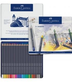Creioane colorate 24 culori Goldfaber cutie metal FABER-CASTELL
