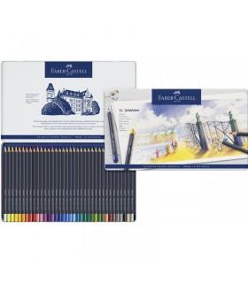 Creioane colorate 36 culori Goldfaber cutie metal FABER-CASTELL