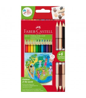 Creioane colorate 12 +3 culori Children of the World FABER-CASTELL