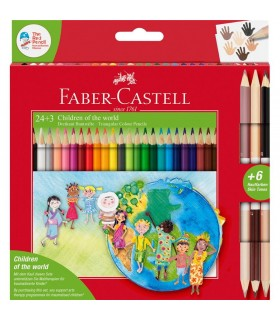 Creioane colorate 24 +3 culori Children of the World FABER-CASTELL