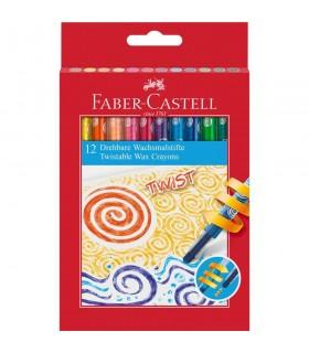 Creioane cerate retractabile 12 culori/cutie FABER-CASTELL