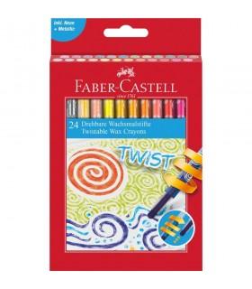 Creioane cerate retractabile 24 culori/cutie FABER-CASTELL