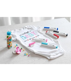 Set 5 markere textile rosu-albastru FABER-CASTELL