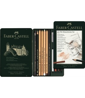 Set desen Pitt Monochrome 12 buc/set FABER-CASTELL