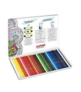 Creioane colorate acuarela 36 culori/cutie metal ALPINO Aquarelle