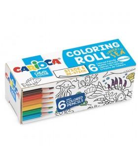 Coloring Roll Mini, 10 x 85 cm/rola, hartie autoadeziva Under The Sea CARIOCA