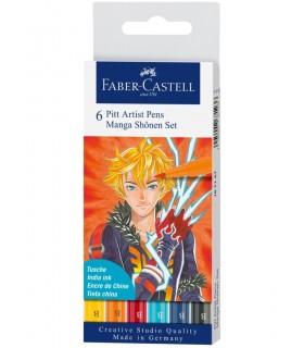 Marker Pitt Artist Pen Manga 6 buc/set Shonen FABER-CASTELL