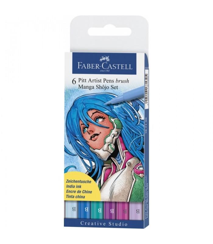 Marker Pitt Artist Pen Manga 6 buc/set Shojo FABER-CASTELL