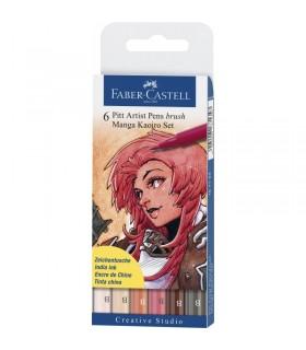 Marker Pitt Artist Pen Manga 6 buc/set Kaioro FABER-CASTELL