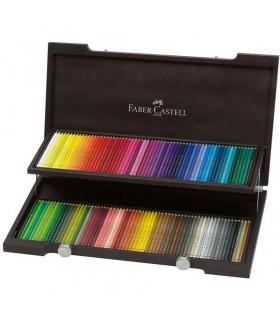 Set 120 creioane colorate Polychromos, cutie lemn, FABER-CASTELL