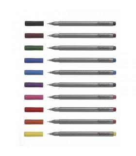 Set liner 10 culori/etui plastic 0.4 mm Grip FABER-CASTELL