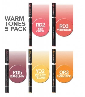 Set 5 markere cu schimbare tonalitate Warm CHAMELEON
