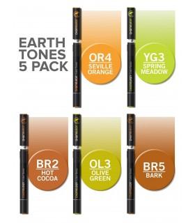 Set 5 markere cu schimbare tonalitate Earth Tones CHAMELEON