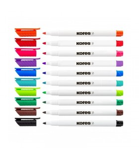 Set 10 marker whiteboard Slim KORES