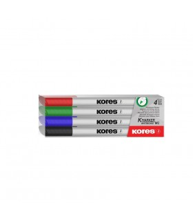 Set 4 marker whiteboard Slim KORES