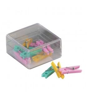 Clesti din plastic cu arc 32 mm culori pastel asortate 10/cutie ALCO