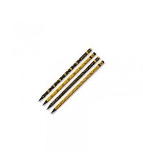 Creion grafit 2B cu guma lemn negru Albinute ADEL