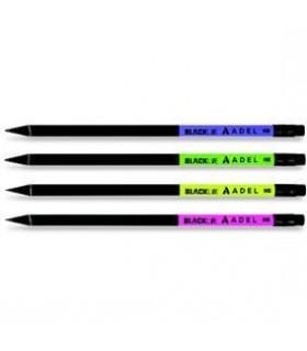 Creion grafit HB cu guma lemn negru NOBLE ADEL