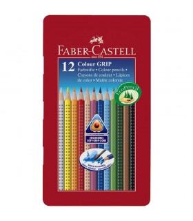 Creioane colorate in cutie metal GRIP 2001 FABER-CASTELL
